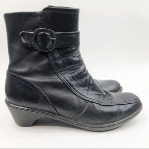 Dansko Blaine Black Leather Ankle Booties